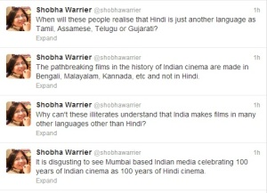 Shoba Twitter Comment on Hindi Cinema